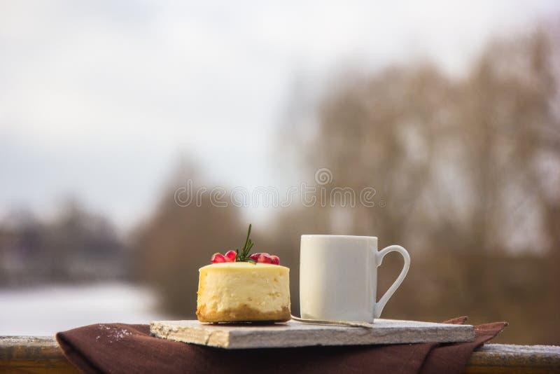 Receita tradicional do bolo do inverno do bolo de queijo do Natal Fatia do bolo de queijo imagem de stock