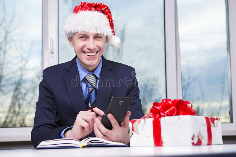 Receive Gifts. Caucasian Man preparing holiday gifts. Receive Gifts. For Christmas and New Year stock images