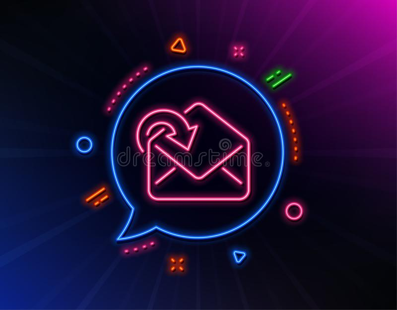 Receive Mail download line icon. Incoming Messages correspondence sign. Vector. Receive Mail download line icon. Neon laser lights. Incoming Messages vector illustration