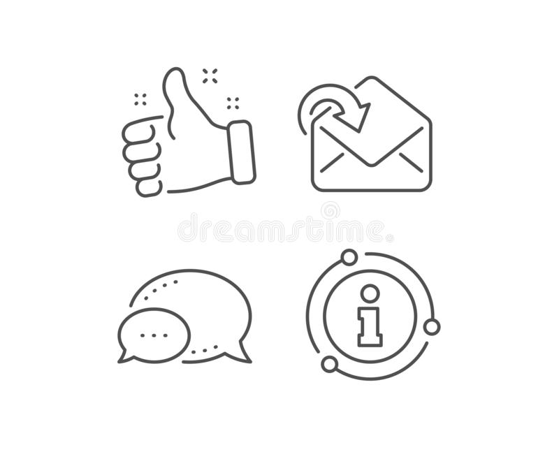 Receive Mail download line icon. Incoming Messages correspondence sign. Vector. Receive Mail download line icon. Chat bubble, info sign elements. Incoming royalty free illustration