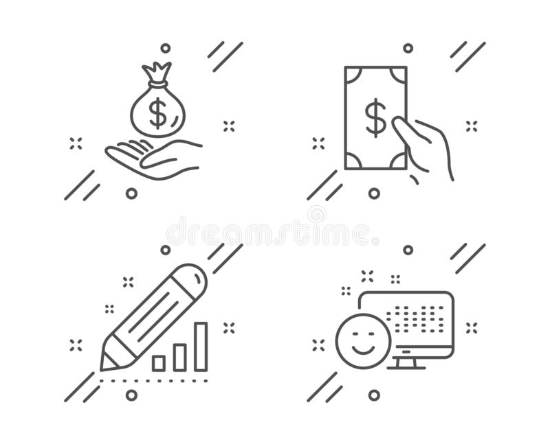 Receive money, Edit statistics and Income money icons set. Smile sign. Cash payment, Seo manage, Savings. Vector royalty free illustration