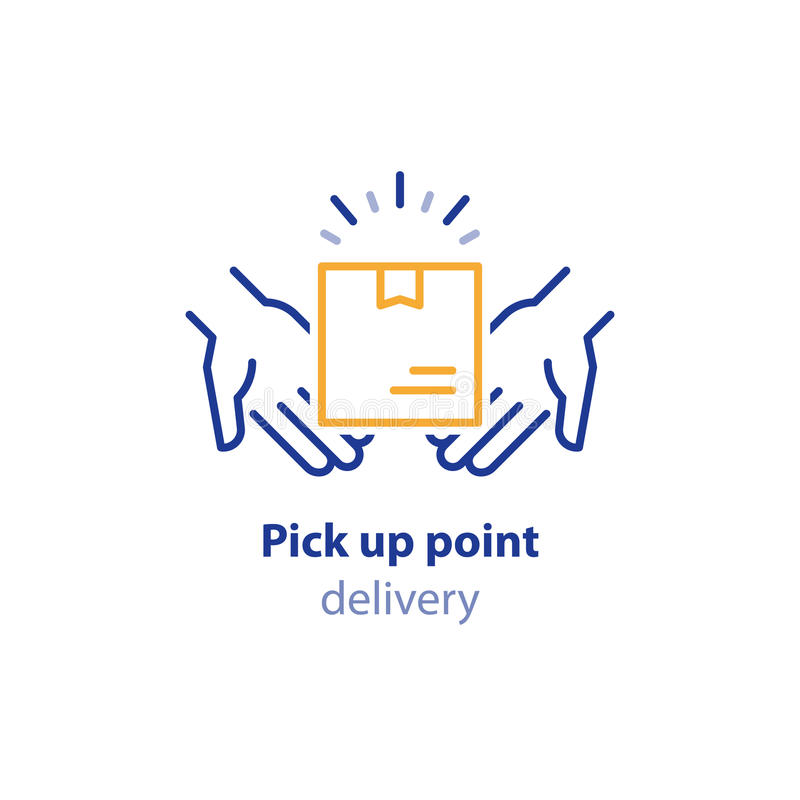 Free Receive Parcel, Pick Up Point, Package Collection, Box In Hands, Carrier Services Stock Photos - 96325353