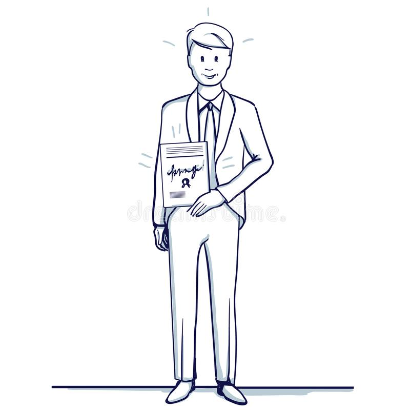 Young Business Man Stands With A Letter Stock Vector Illustration
