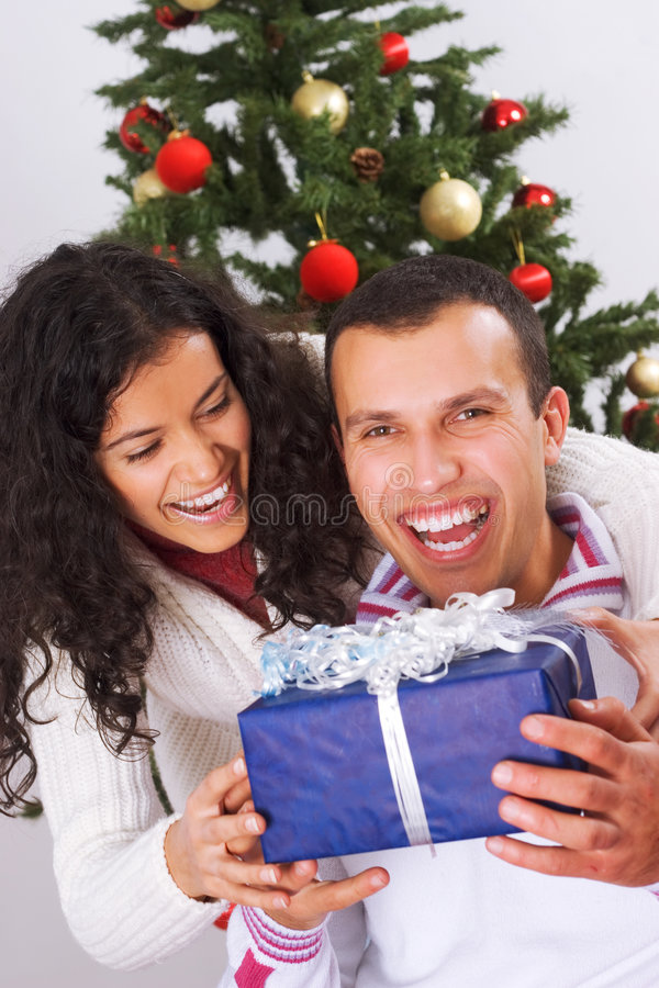 Receiving christmas present stock photos