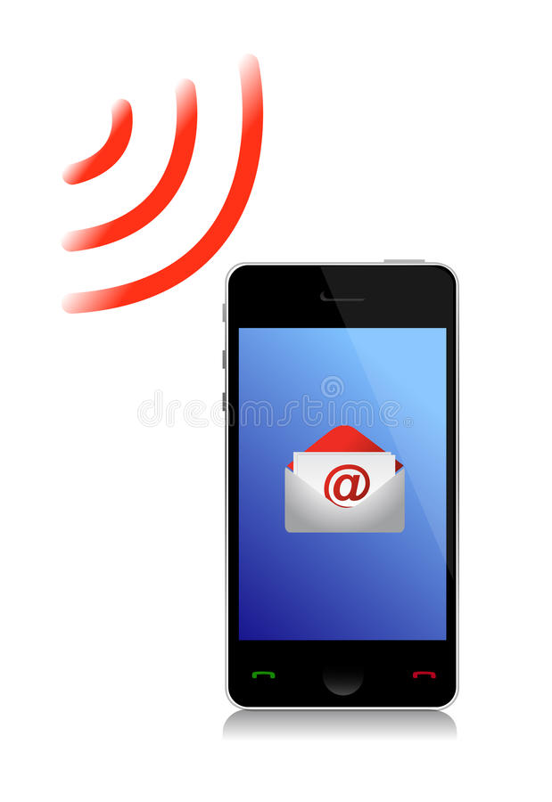 Download Receiving An Email Cel Phone Stock Illustration - Image: 27310630