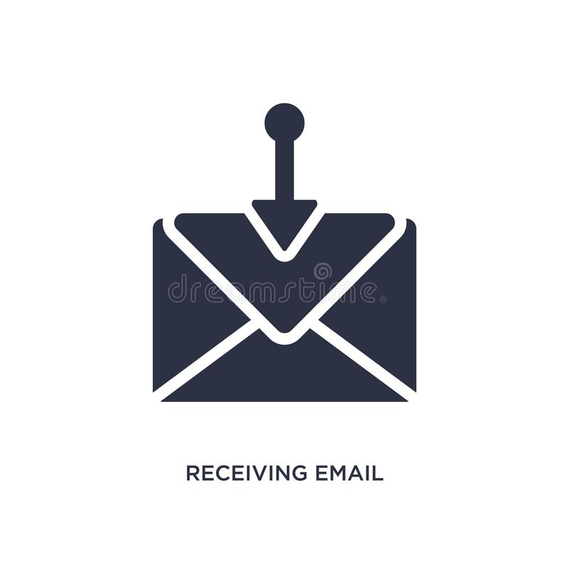 receiving email icon on white background. Simple element illustration from communication concept vector illustration