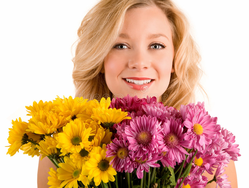 Receiving Flowers stock photo