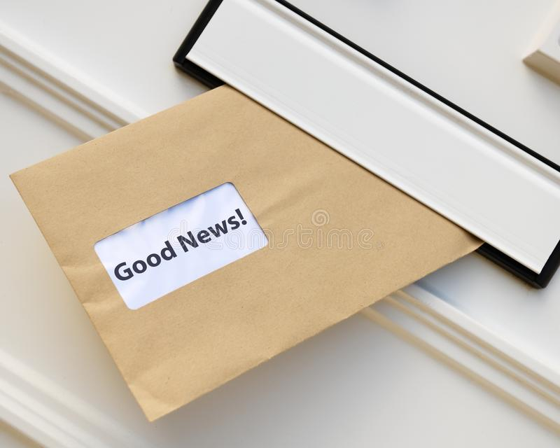 Receiving good news in the post stock photography