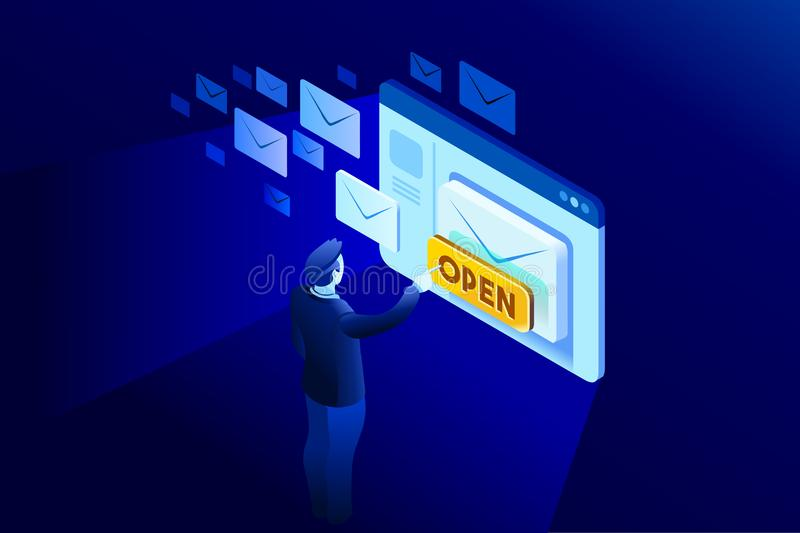 Receiving a newsletter email vector illustration