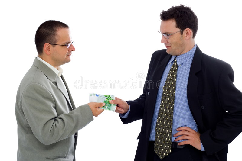 Receiving payment. Businessman giving/receiving payment in euro royalty free stock images