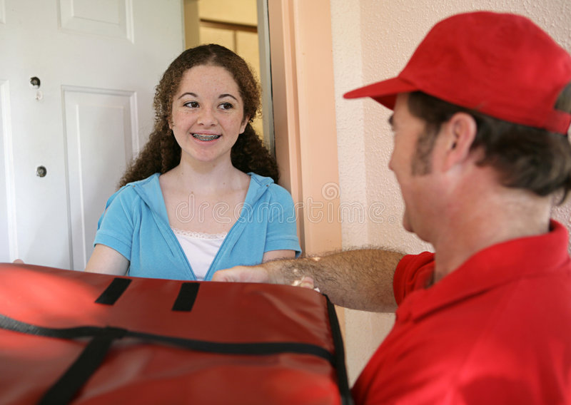 Download Receiving Pizza Delivery stock photo. Image of junk, pizza - 1358552