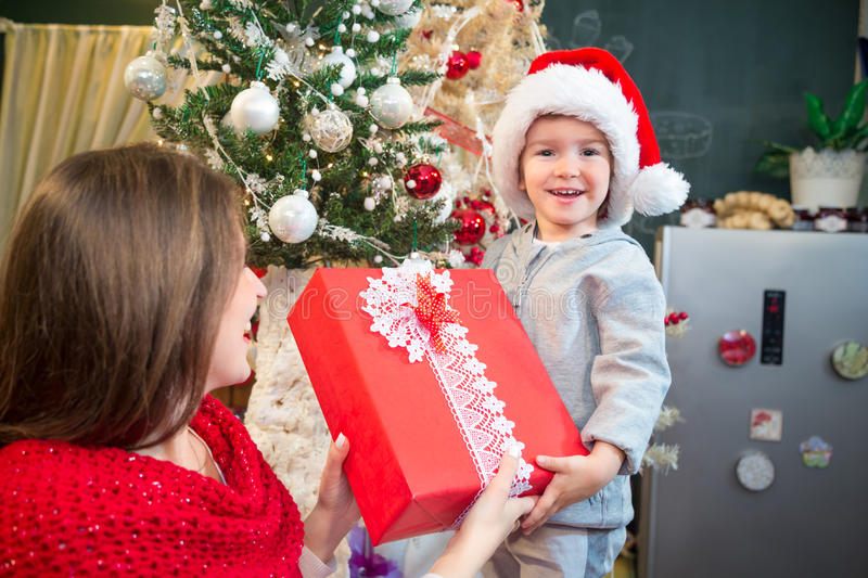Receiving present on Christmas morning. stock images