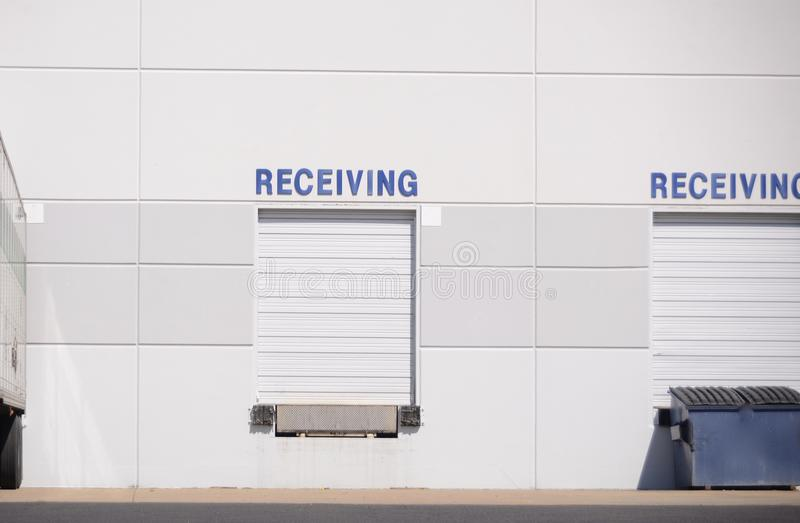 Receiving Bays at Distribution Center. Receiving and Shipping bays at a freight and cargo goods distribution center royalty free stock image
