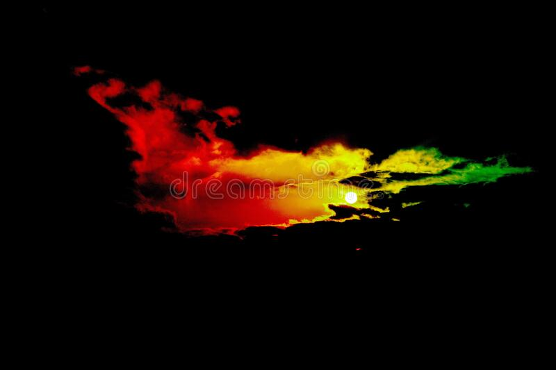 Colorful sunset and sunset. The recent disappearance of the sun in Xishan produces a beautiful colorful sunset among the white clouds royalty free stock photography