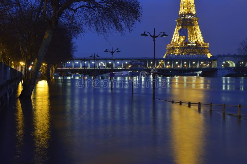 Water reflections during the flood of the Seine. During the recent flood of the Seine, some roads were closed, giving the opportunity to make special spots stock photos