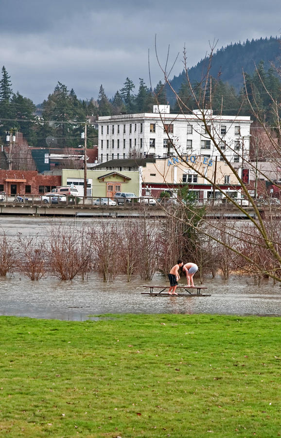 Recent Flooding of the Skagit River. Mt Vernon, WA – JANUARY 16: - Flood waters from Skagit river poured over recently as kids enjoy it. The natural royalty free stock photos