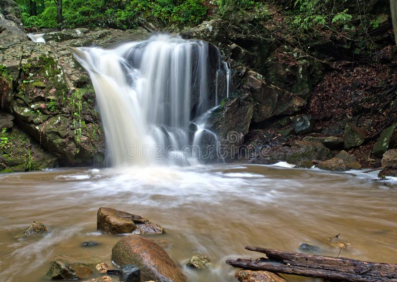 Maryland forest waterfall. Recent heavy rainstorm feeds a Maryland forest waterfall in the Patapsco State Park near Ellicott City, Maryland stock image