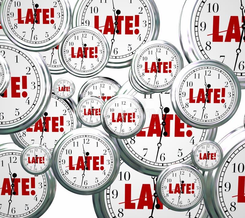 Recente Word Klokken die Traag Achterstallig Alarm achter op het schema vliegen royalty-vrije illustratie