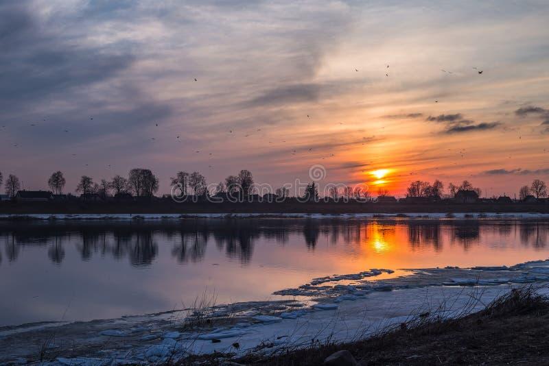 Recente Zonsondergang met vogels op de Daugava-Rivier in Daugavpils stock foto