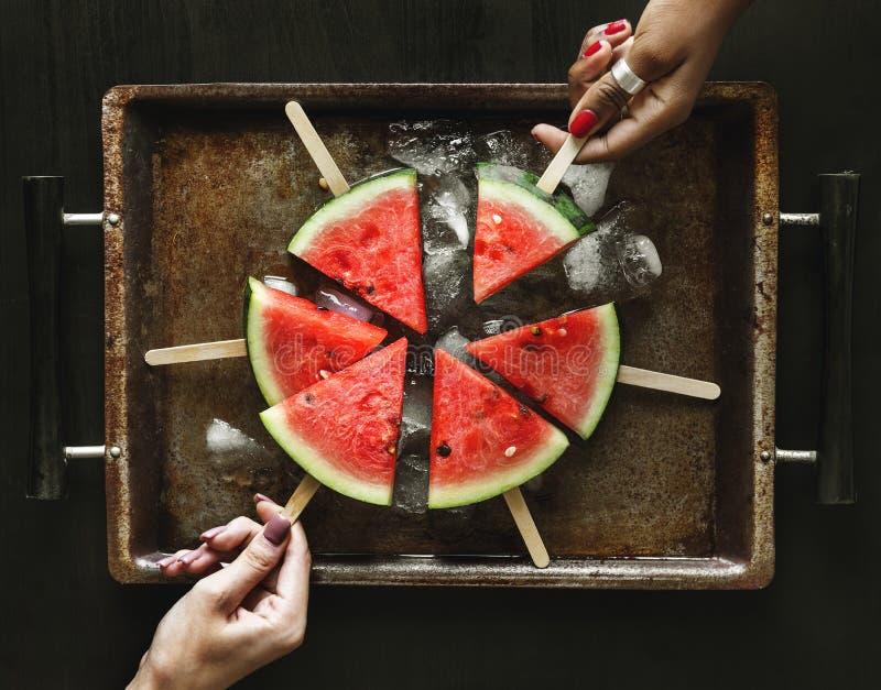 Recentemente melancia da fatia em varas foto de stock royalty free