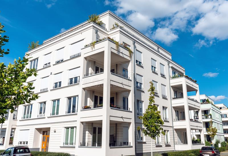 Recently built white apartment buildings. Seen in Berlin, Germany royalty free stock photography