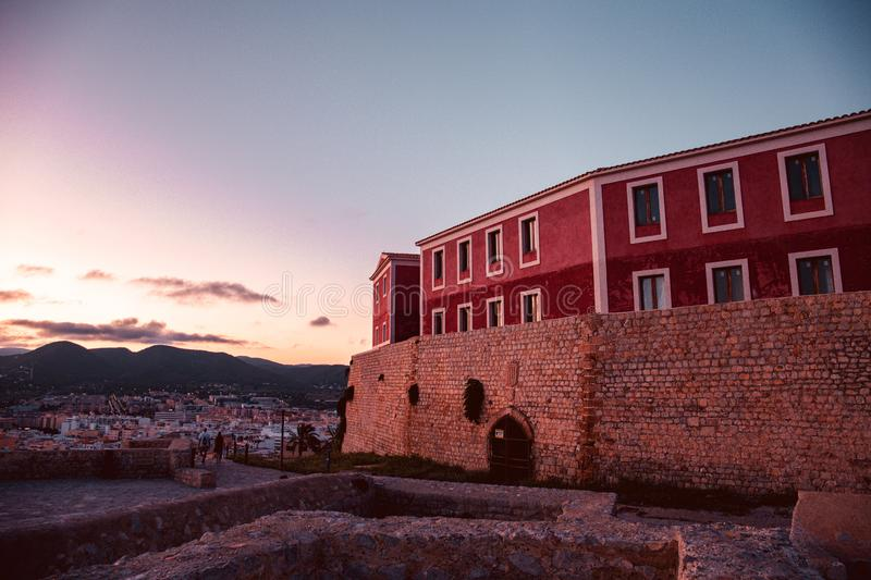 Recently renovasted building in Ibiza`s medieval age old town of Dalt Vila, in Ibiza Town.  royalty free stock images