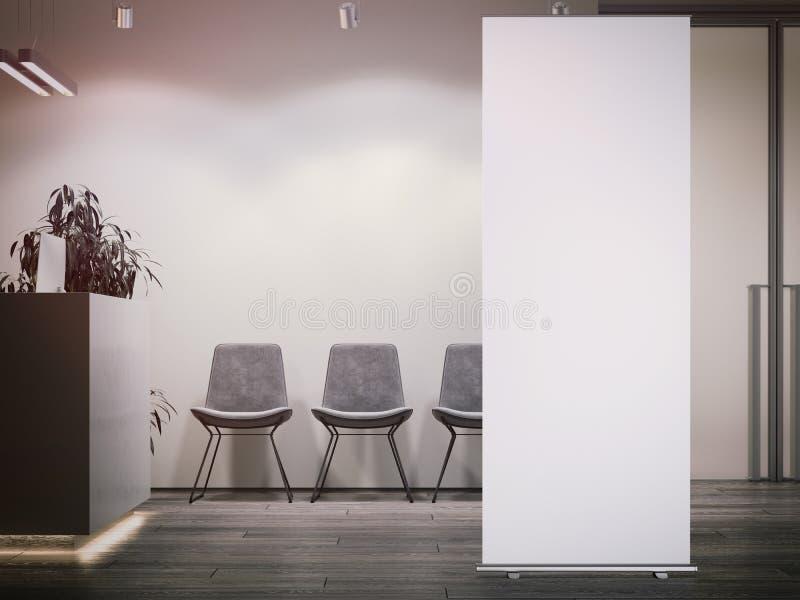 A recepção brilhante do escritório com área de espera e vazios brancos rolam acima rendição 3d ilustração do vetor