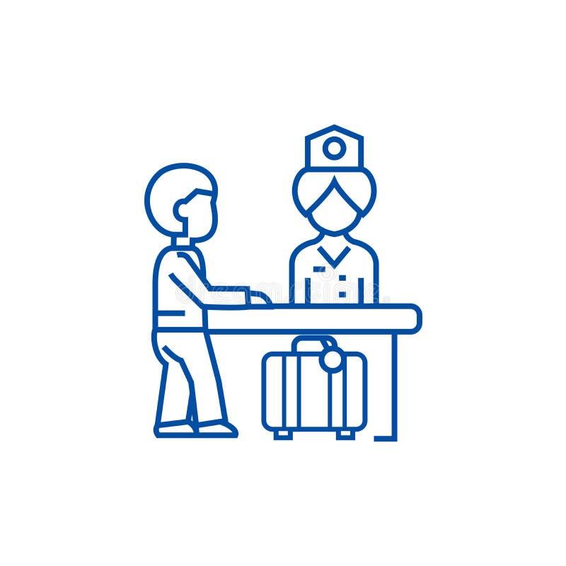 Recepção do hotel, recepcionista na linha conceito da tabela do ícone Recepção do hotel, recepcionista no vetor liso da tabela ilustração do vetor
