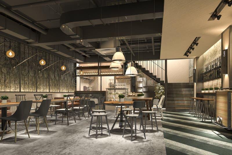 recepção do sótão e do hotel de luxo da rendição 3d e restaurante da sala de estar do café ilustração do vetor