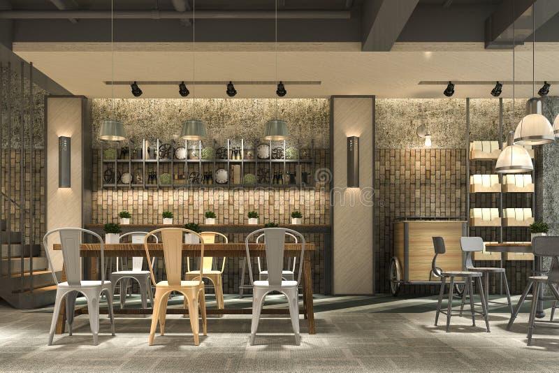 recepção do sótão e do hotel de luxo da rendição 3d e restaurante da sala de estar do café ilustração stock