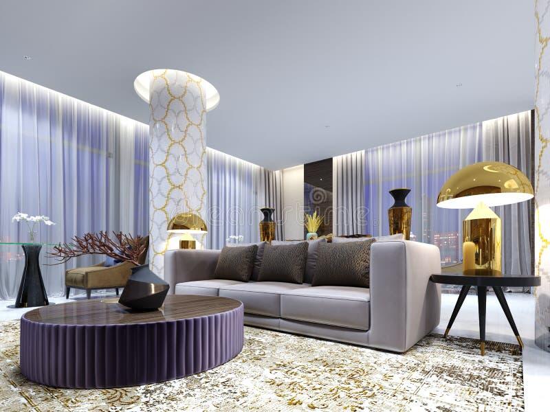 Recepção e área da sala de estar no hotel, no sofá luxuoso com a poltrona dois com as tabelas laterais com lâmpadas douradas e na ilustração do vetor