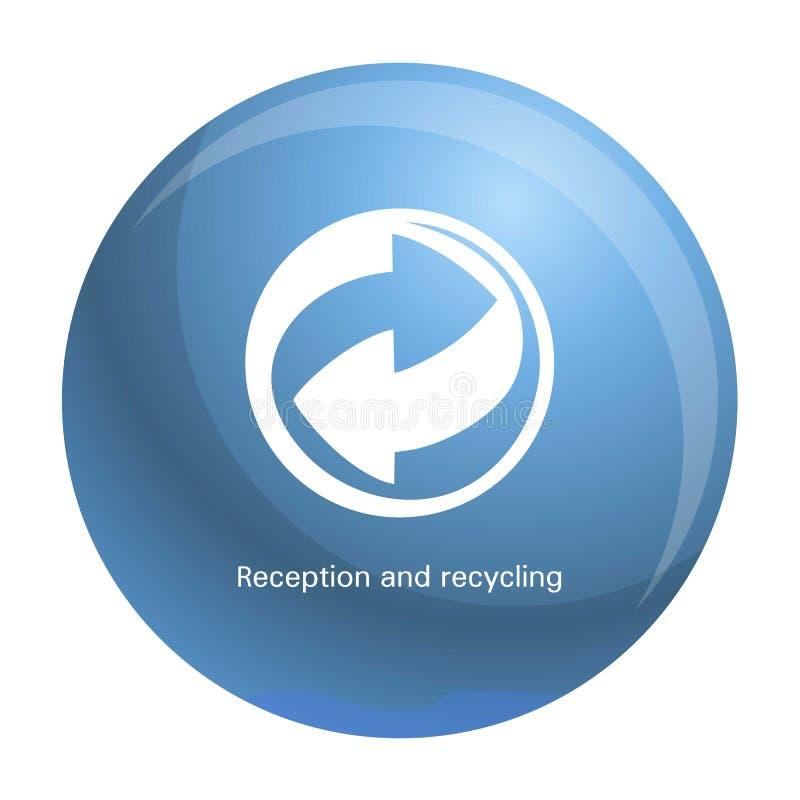 Recepção e ícone da reciclagem, estilo simples ilustração stock