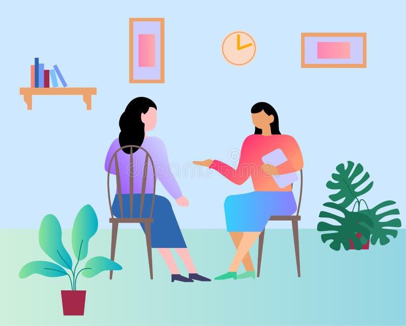 Recepção no psicólogo Psicólogo, cliente, terapia, conceito de problema ilustração do vetor