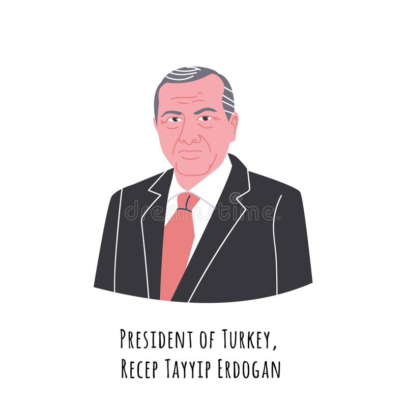 Recep Erdogan portrait illustration vector illustration