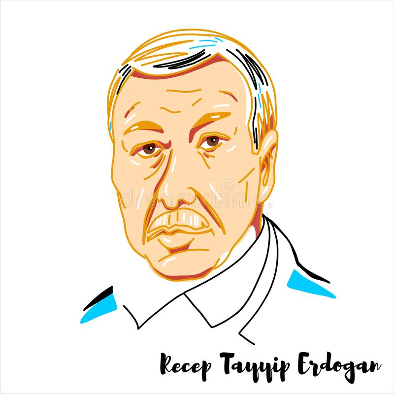 Recep Tayyip Erdogan Portrait royalty free illustration