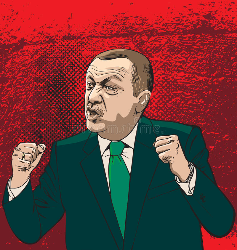 Recep Tayyip Erdogan portrait, line art illustration vector royalty free illustration