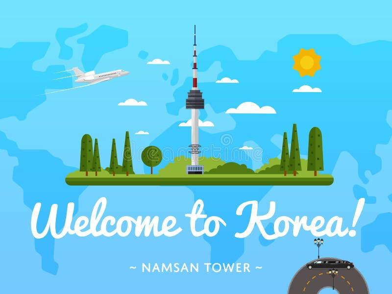 Recepción al cartel de Corea con la atracción famosa stock de ilustración