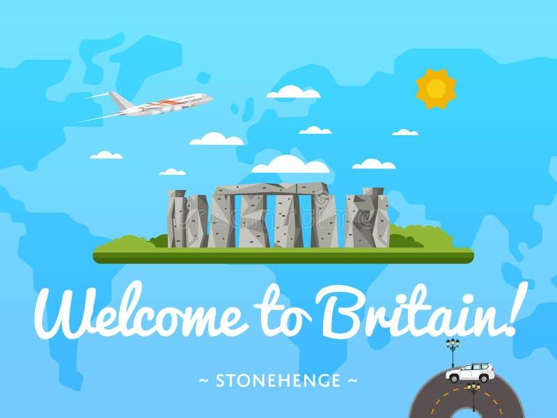 Recepción al cartel de Gran Bretaña con la atracción famosa ilustración del vector