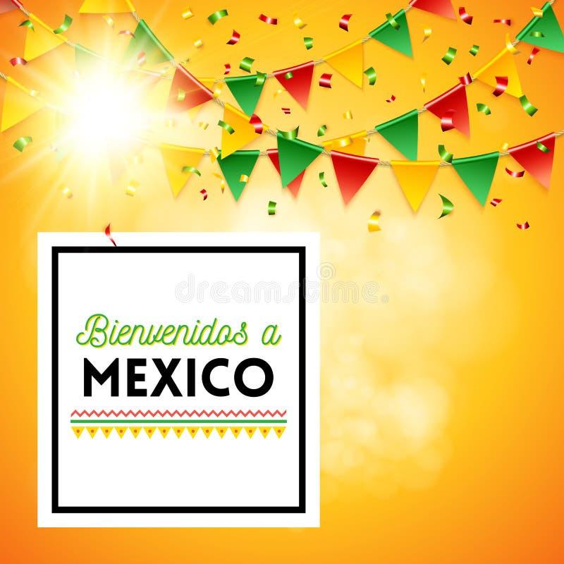 Recepción al cartel de México con el fondo soleado libre illustration