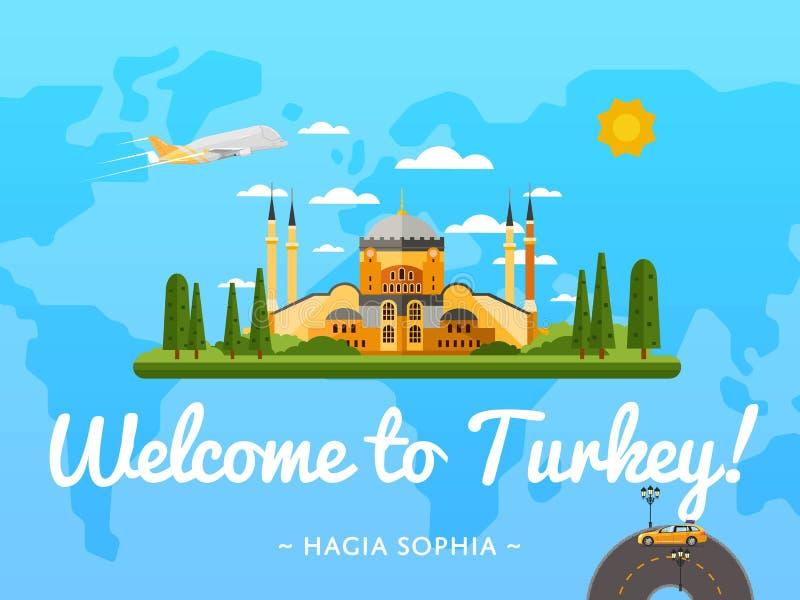 Recepción al cartel de Turquía con la atracción famosa stock de ilustración