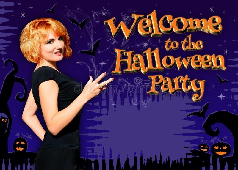 Recepción al cartel del partido de Halloween imagen de archivo