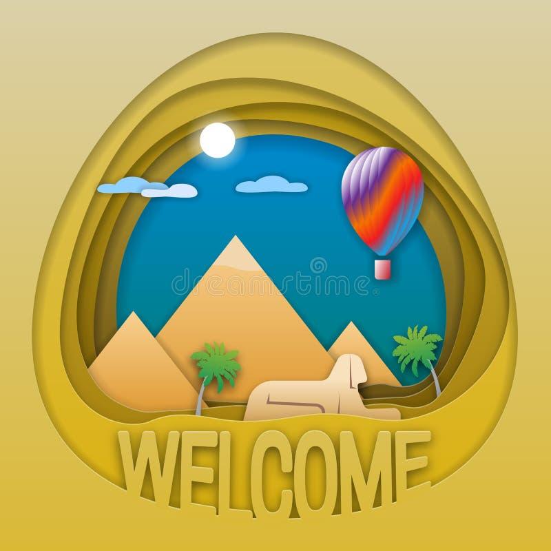 Recepción al emblema del concepto del viaje de Egipto Las pirámides, la estatua de la esfinge, las palmeras y el aire caliente hi ilustración del vector