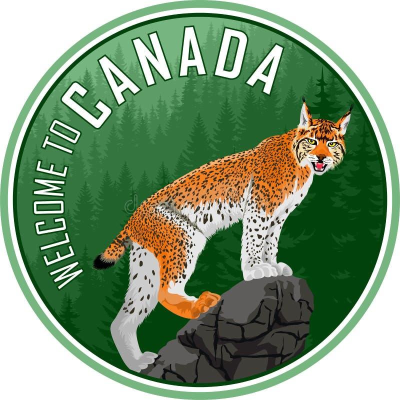 Recepción al emblema del logotipo de la etiqueta del bosque del arbolado de Canadá con el lince - vector libre illustration