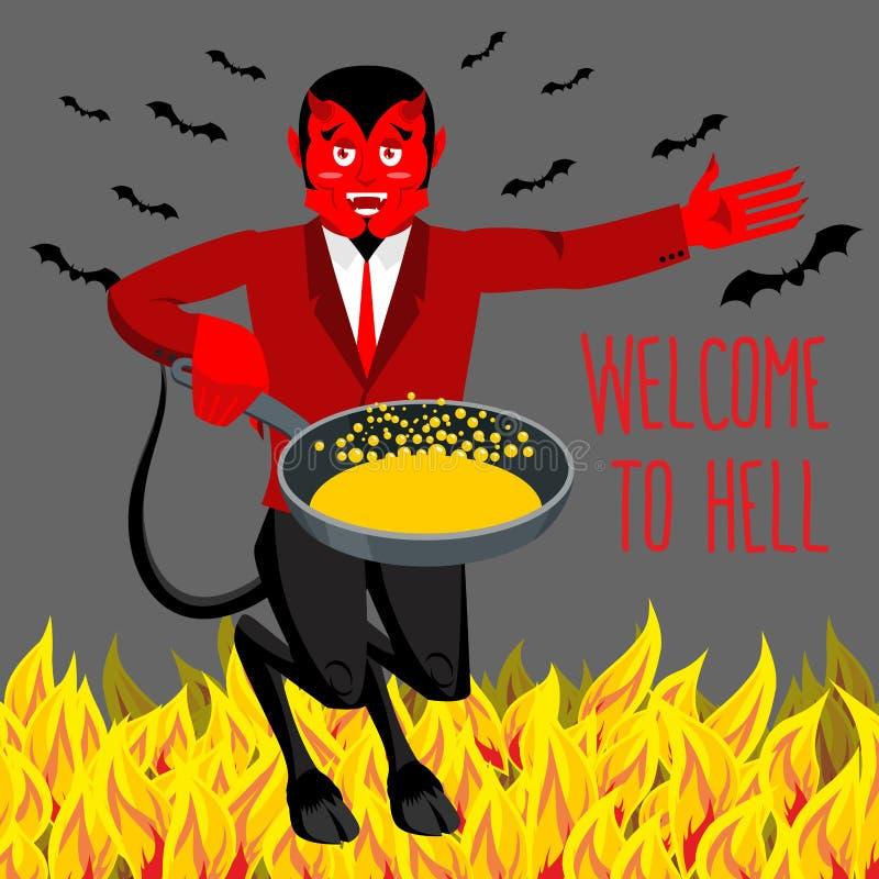Recepción al infierno Diablo que sostiene el sartén para los pecadores stock de ilustración