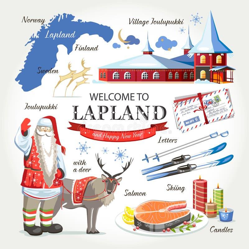 Recepción al sistema de la Navidad de Laponia Papá Noel stock de ilustración