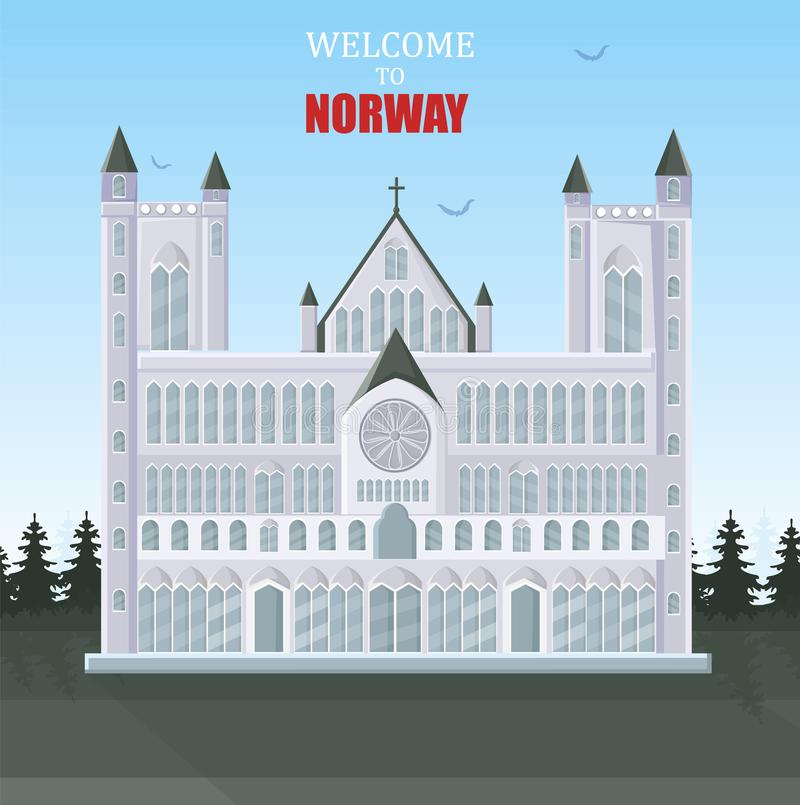 Recepción al vector de la tarjeta de Noruega Arquitectura de los atractions del turista de la catedral ilustración del vector