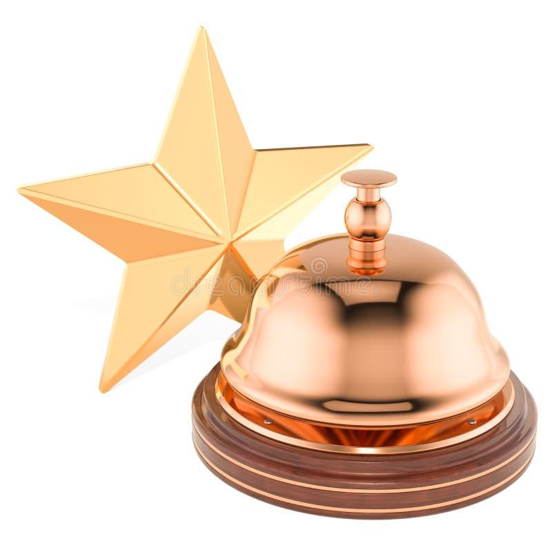 Recepción Bell con el concepto de oro de la estrella, representación 3D stock de ilustración