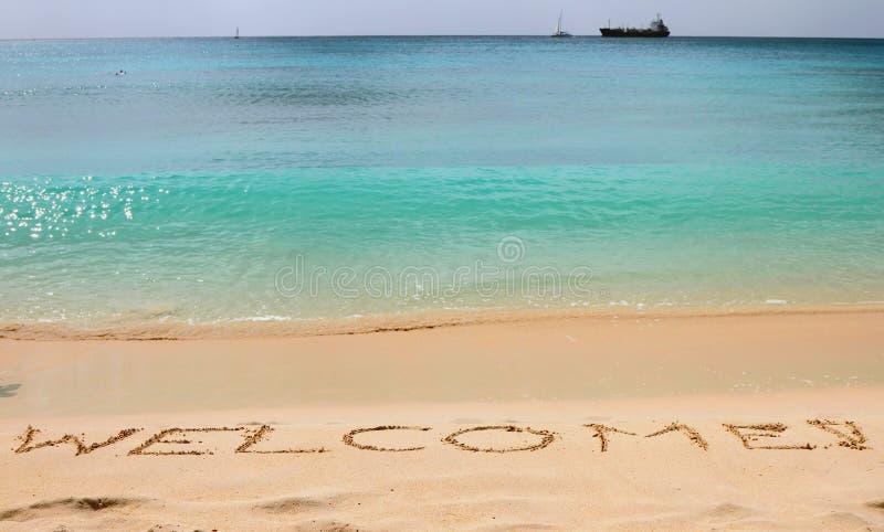 ¡Recepción de la inscripción! en la arena Islas caribeñas, Bridgetown, Barbados imagenes de archivo