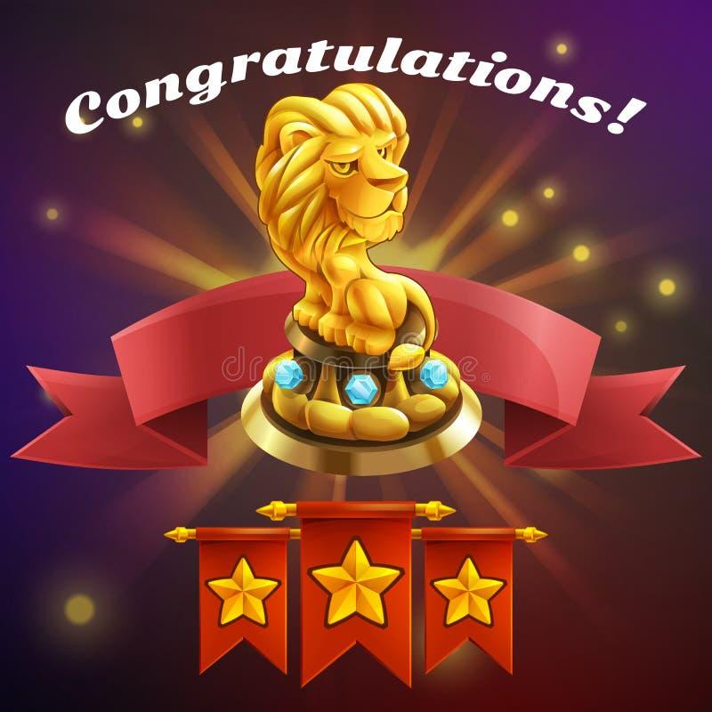 Recepción de la pantalla del juego del logro de la historieta Ejemplo del vector con el premio de oro stock de ilustración