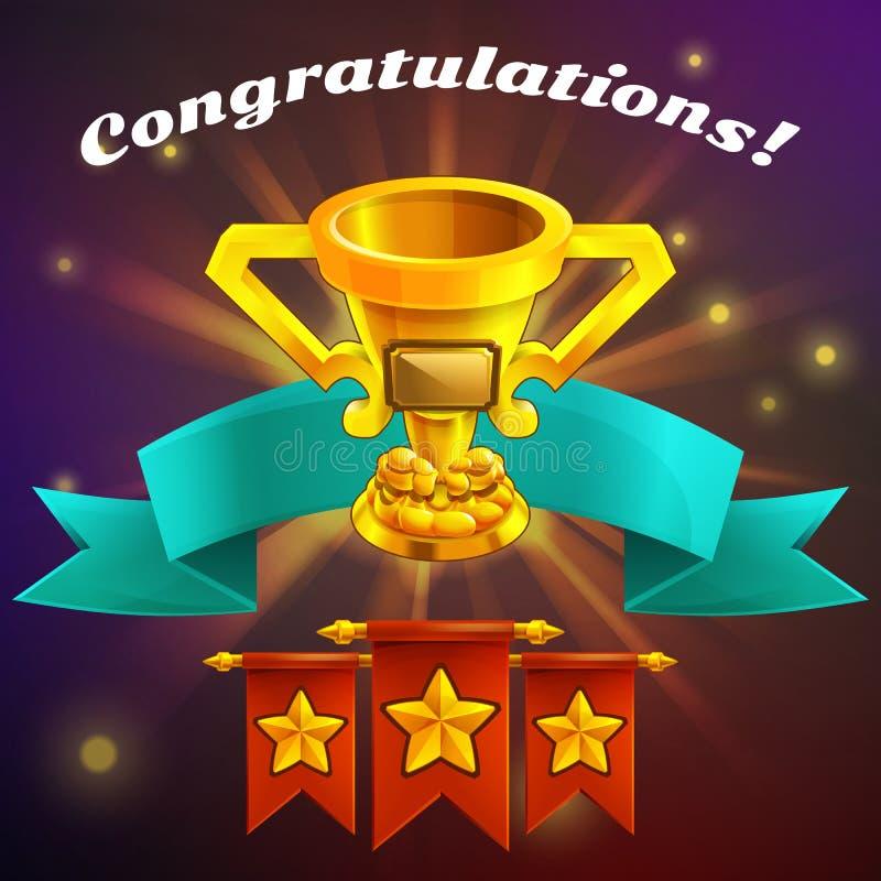 Recepción de la pantalla del juego del logro de la historieta Ejemplo del vector con la taza de oro libre illustration
